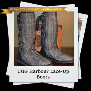 EUC | Authentic UGG Harbour Lace-Up In Back Boots